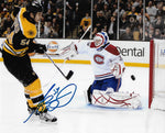 Adam McQuaid Boston Bruins Signed Autographed Shot vs Canadiens 8x10 Photo