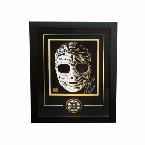 Gerry Cheevers Boston Bruins Signed Autographed Mask 8x10 Photo Framed