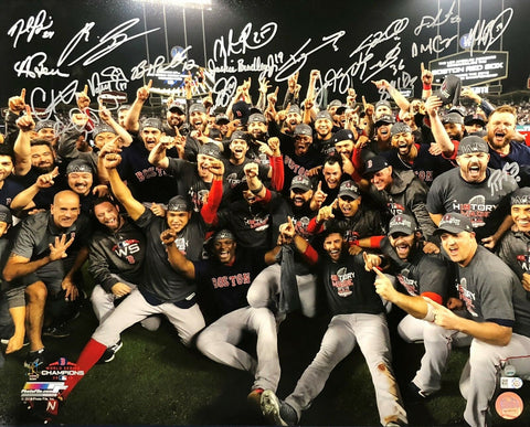 2018 World Series Boston Red Sox Team (18) Signed 16x20 Photo MLB/STEINER Betts+