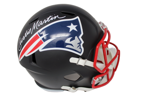 Curtis Martin New England Patriots Signed Full Size Replica Black Helmet JSA