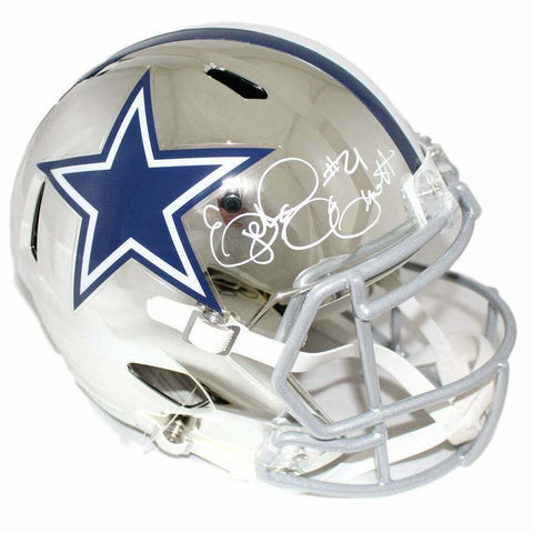 Ezekiel Elliott Dallas Cowboys Signed Full Size Replica Chrome Speed Helmet BAS