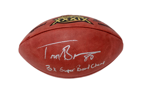 Troy Brown New England Patriots Signed Authentic SB 39 3X Champ Ins Football JSA