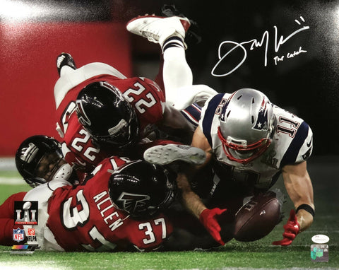 Julian Edelman New England Patriots Signed SB LI The Catch 16x20 Photo JSA