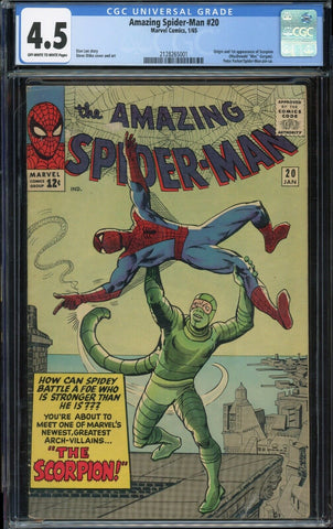 Amazing Spider-Man #20 1st SCORPION Marvel 1965 OWH/Wh Pages CGC 4.5 VG+
