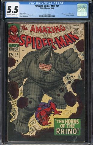 Amazing Spider-Man #41 1st RHINO Marvel 1966 OWH/Wh Pages CGC 5.5 FN
