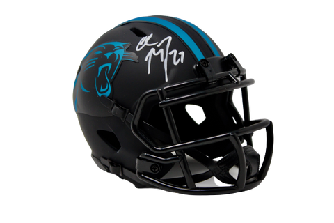 Christian McCaffrey Carolina Panthers Signed Mini Eclipse Speed Helmet BAS