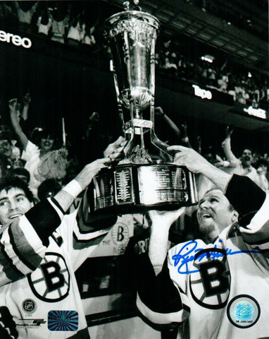 Rick Middleton w/ Borque Boston Bruins Signed 8x10 Photo Trophy JSA