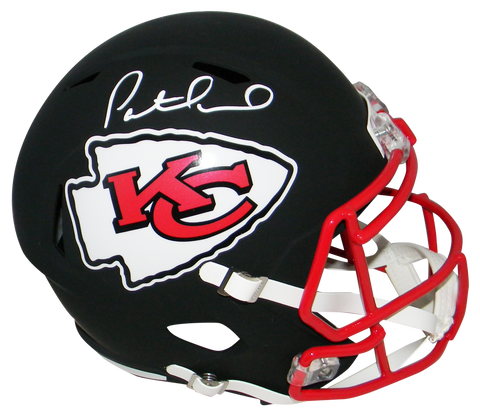 Patrick Mahomes Kansas City Chiefs Signed Full Size Flat Black Speed Helmet JSA