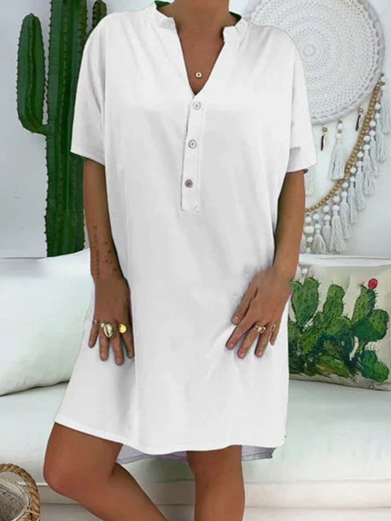 Casual short sleeve V-neck large size dress
