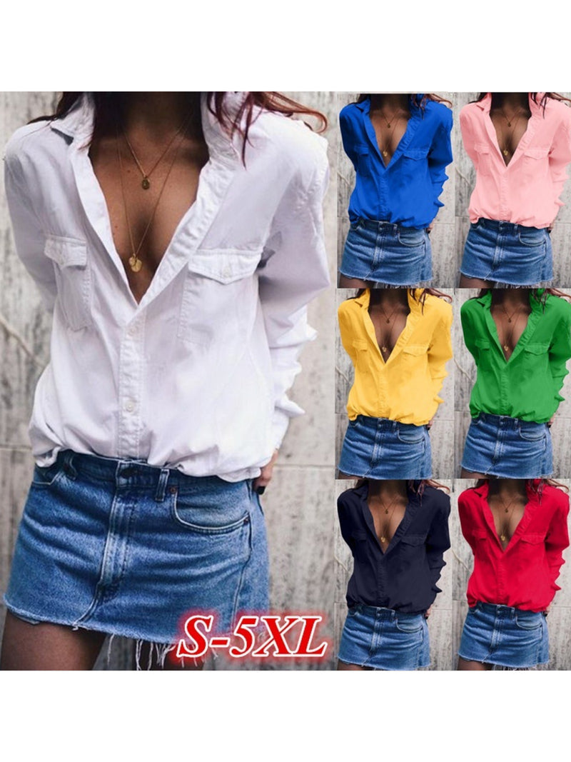 Fashion Wide Lapel Solid Color  Long Sleeve Shirt