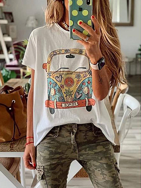Summer Short Sleeve Round Neck Cartoon Printed Casual Blouse