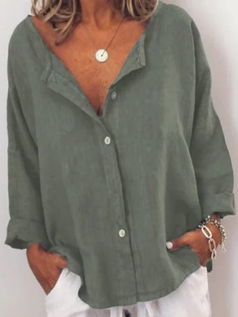 Linen Casual Solid V Neck Long Sleeve Buttoned Tops