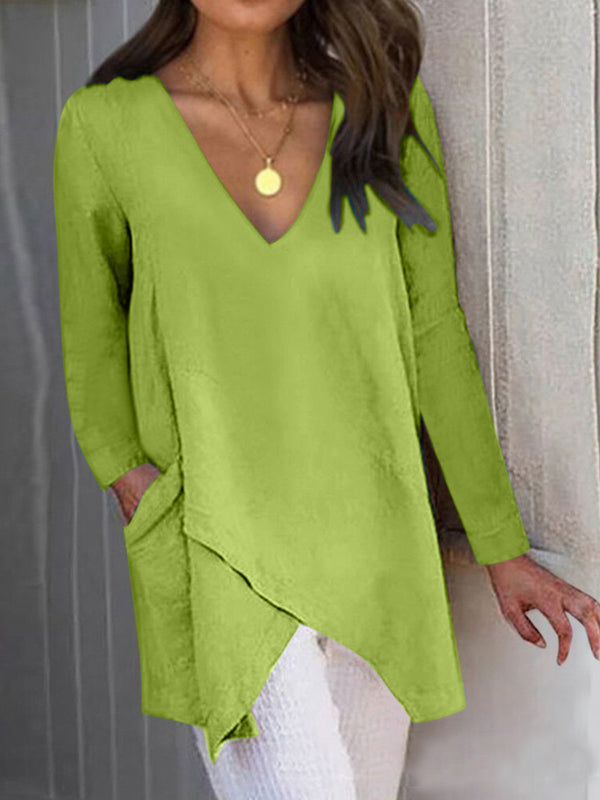 Long Sleeve Pockets Paneled Asymmetrical  V Neck  T-Shirts