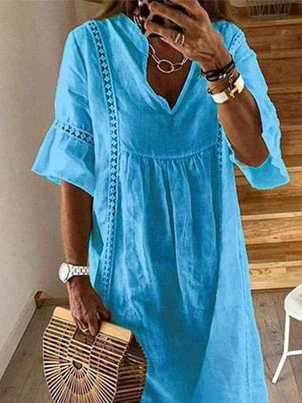 Summer Pure Color Crocheted Casual Dress