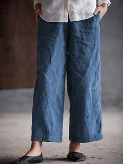 Casual Solid  Cotton & Linen Casual Wide Leg Pants