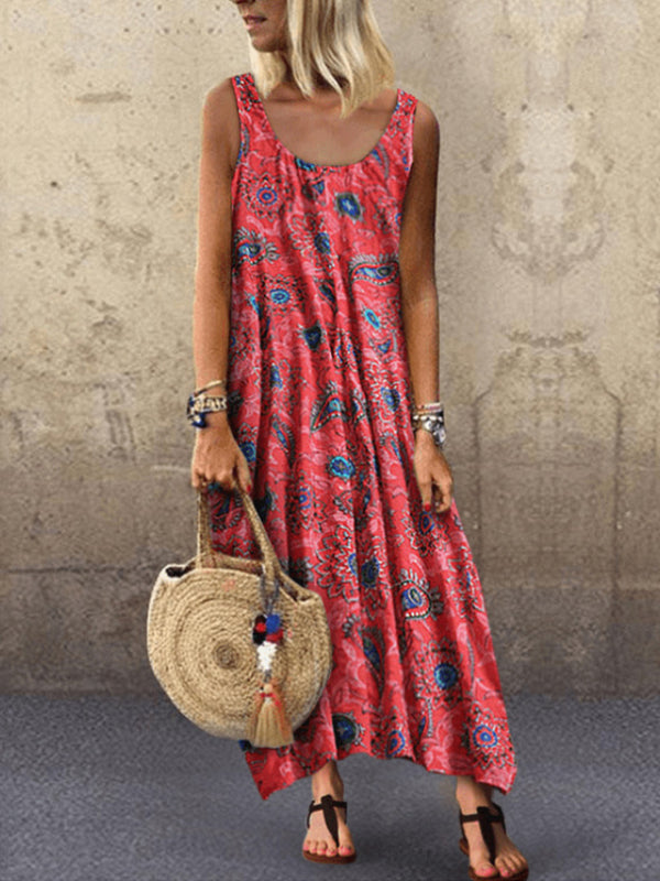 Printed Sleeveless Round Neck Loose Dress