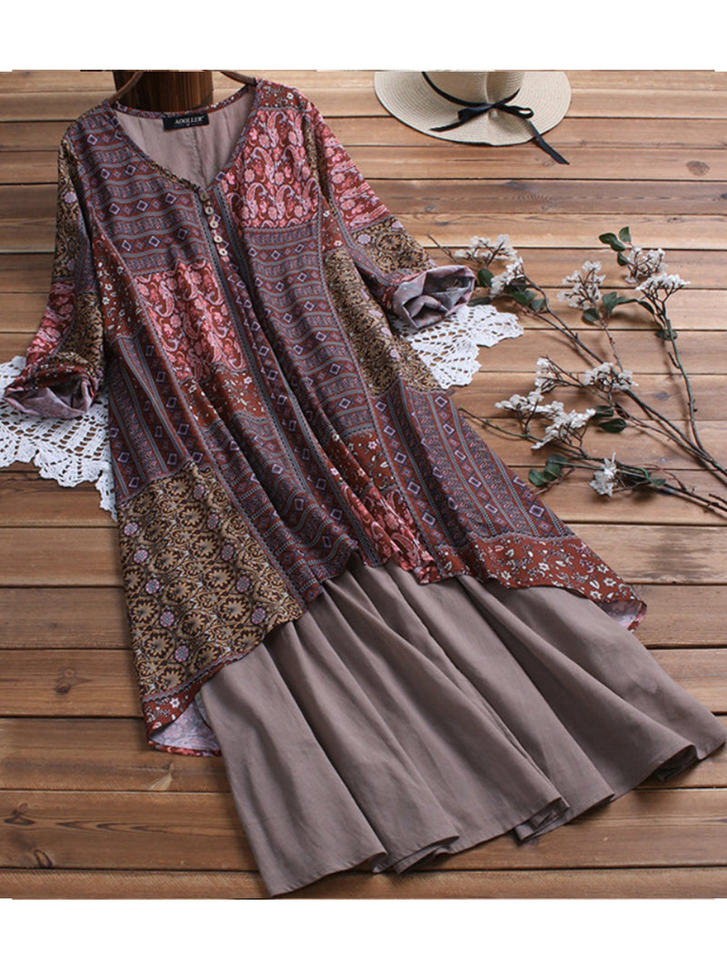 Women Cotton Linen Button Maxi Dress