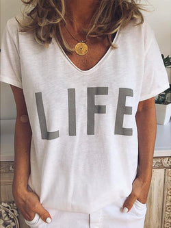 V Neck Casual  Letter Print Short Sleeve T-Shirts