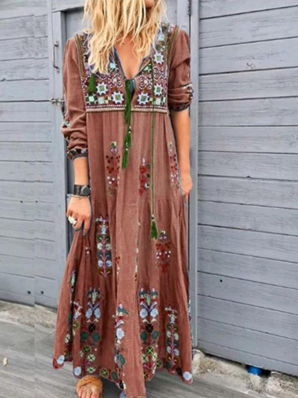 Patchwork Cotton-Blend V Neck Casual Maxi Dresses