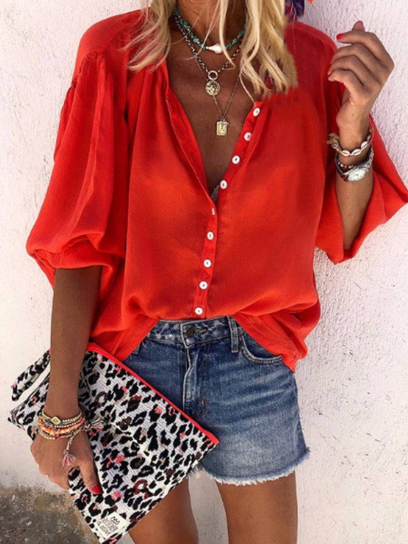 Casual Solid Button Through Blouse