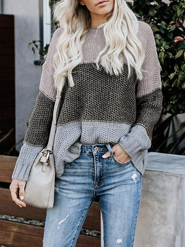 Color Block Knitted Textured Pullover Sweater