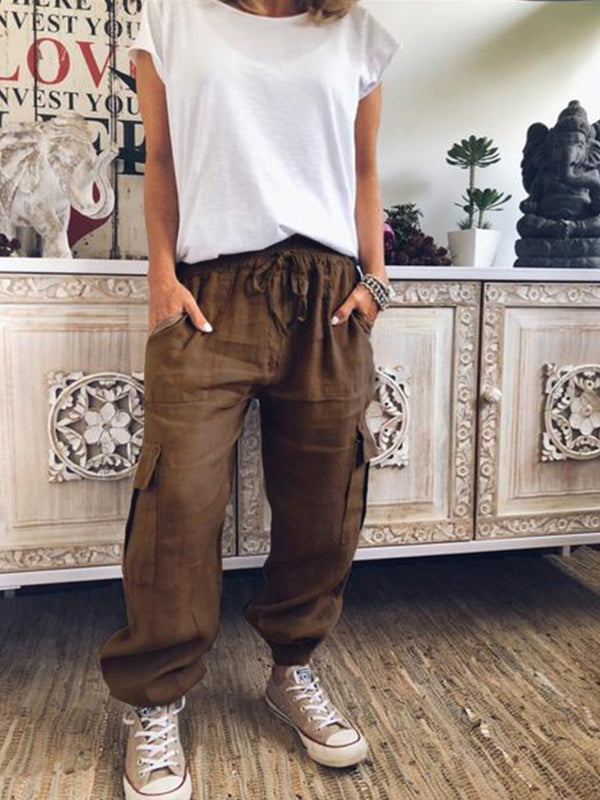 Women Casual Drawstring Loose Fit Pants With Pockets