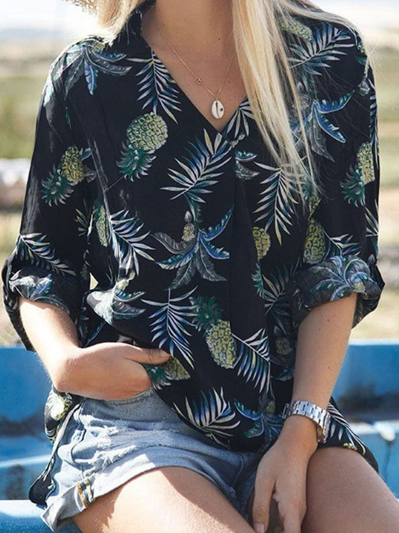 Large Women Long Sleeve Flower Blouses Tops Baggy Ladies V Neck Shirts