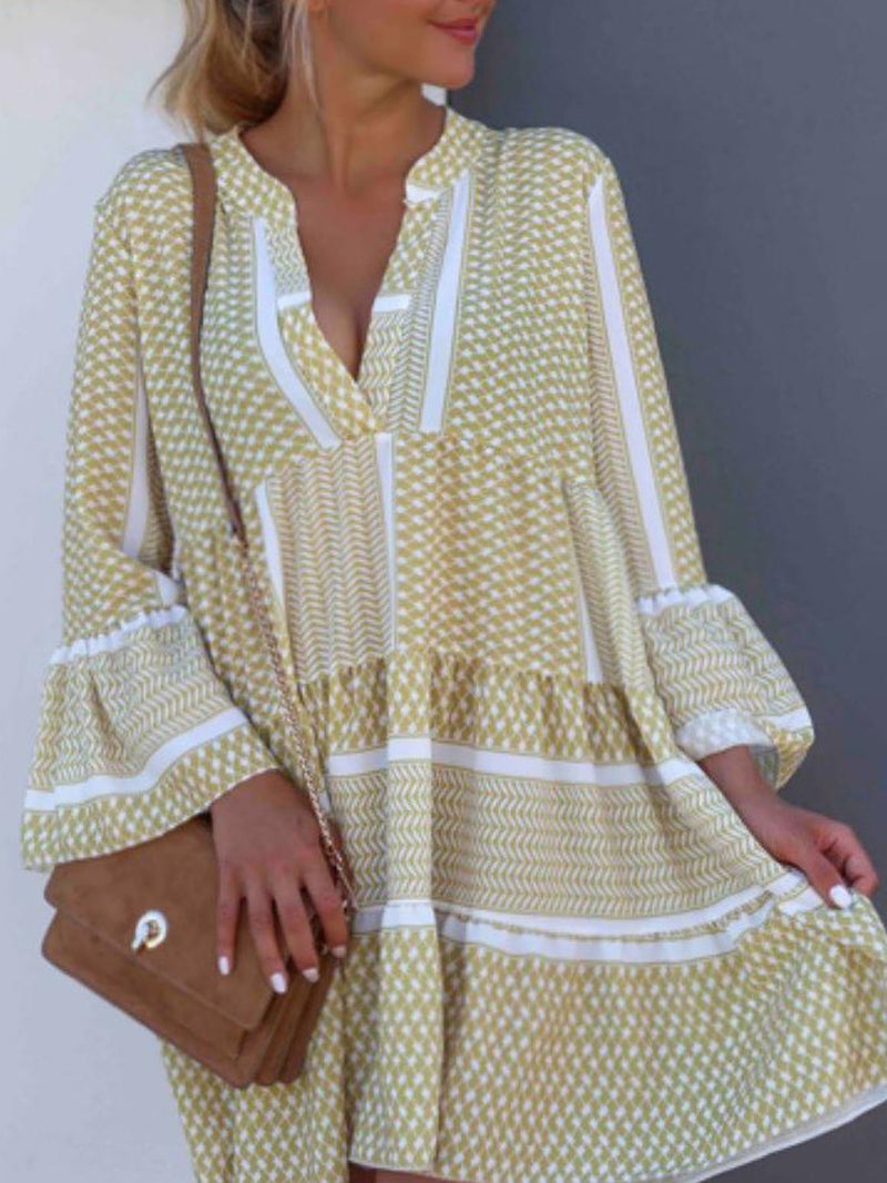 V Neck Casual Bell Sleeve Printed Colour Loose Dress