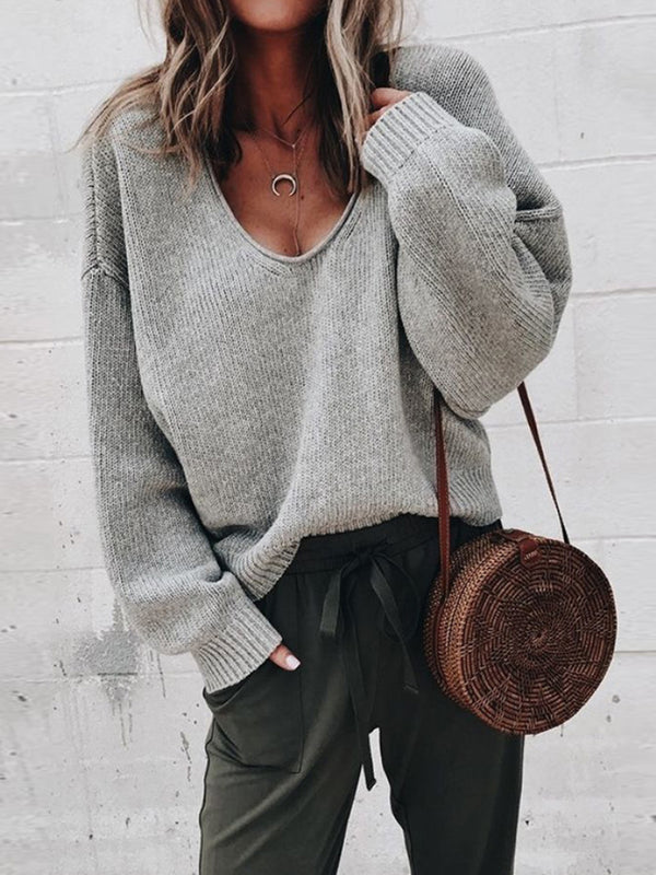 Casual V-Neck Long-Sleeved Solid Color Loose Sweater