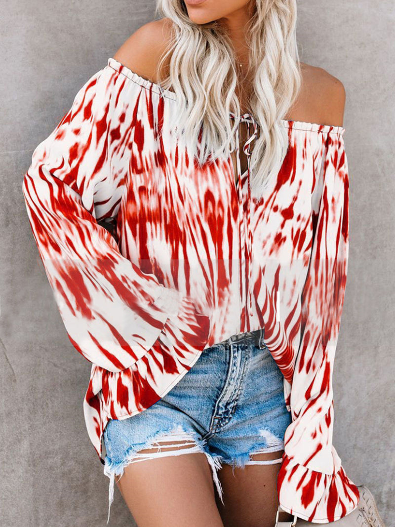 Long Sleeve Off Shoulder Print Flare Sleeve Sexy Slash Neck Blouse