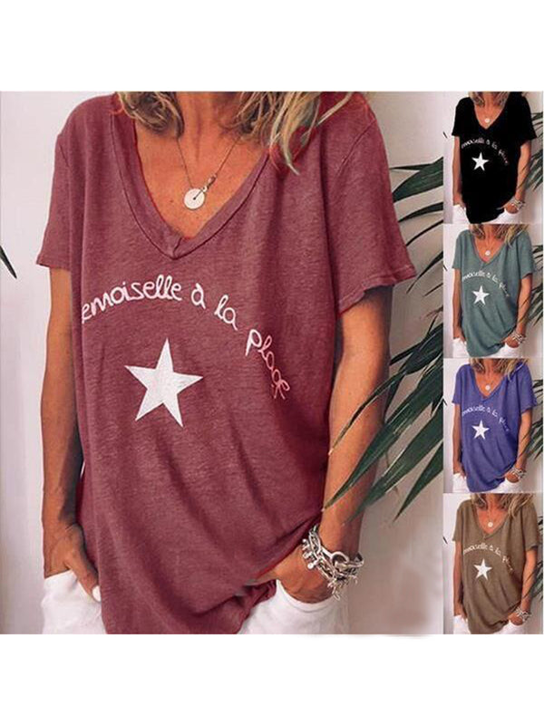 V Neck Casual Letter Printed Short Sleeve T-Shirts
