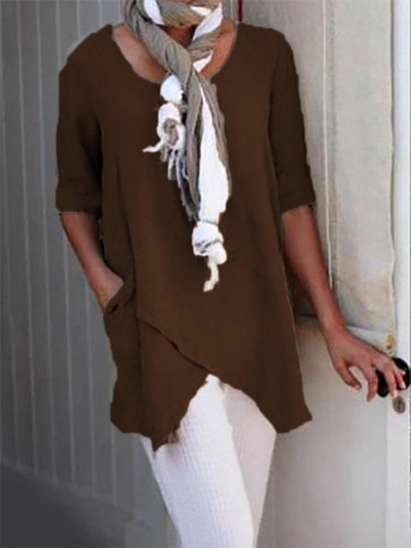 Summer Pockets Half Sleeve Asymmetrical Casual Blouses