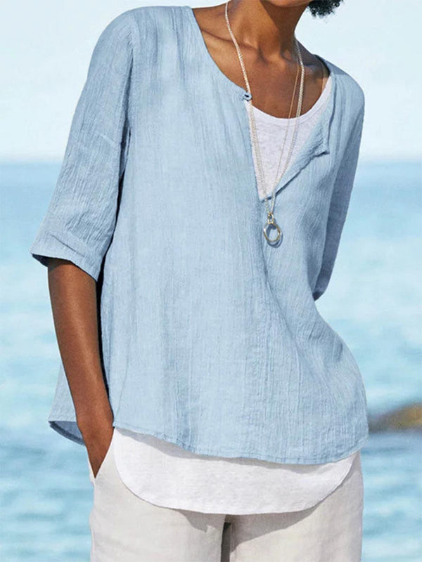 Summer Casual Clothing Half Sleeve V Neck Cotton Solid Shirts
