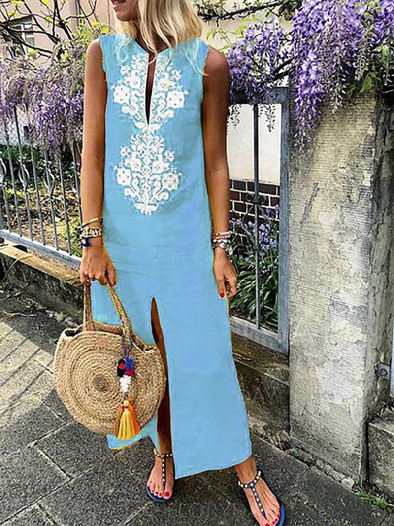 Kaftan Shift Women Sleeveless Casual Slit Geometric Summer Dress
