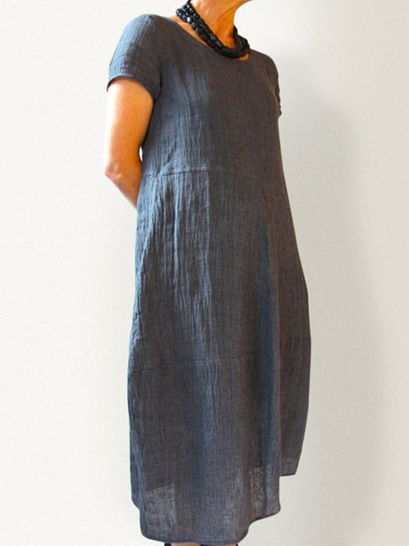 Summer Casual Pockets Round Neck Shift Linen Dresses