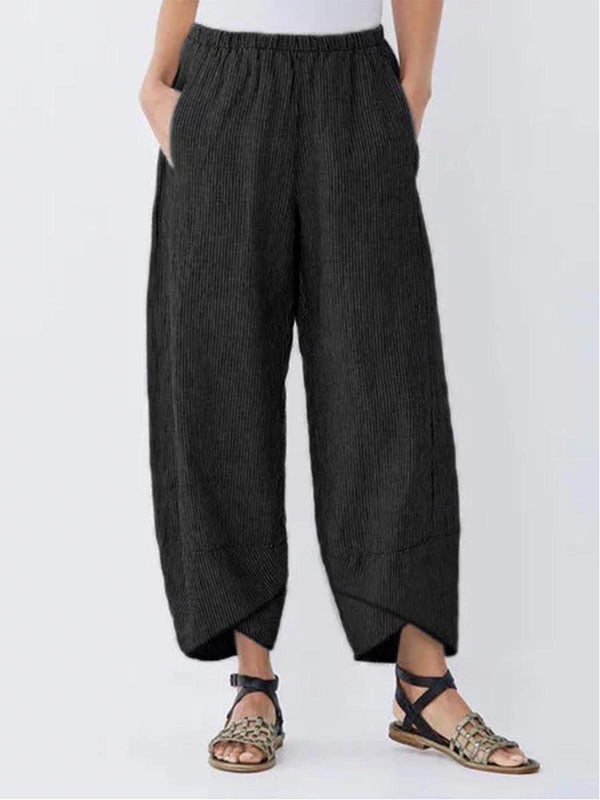 Summer Pockets Striped Shift Casual Pants