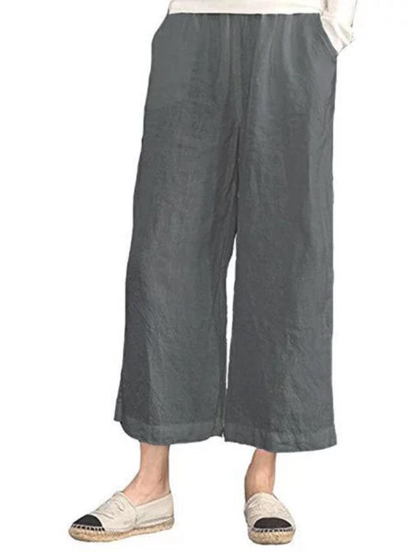 Summer Women Solid Casual Linen Nights Pants