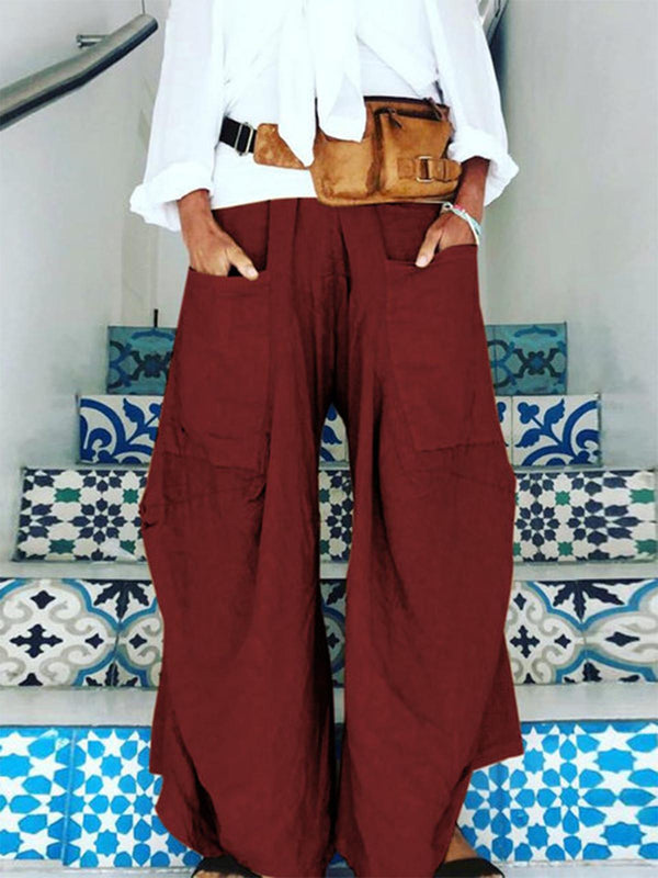 Plus Size Pockets Loose Solid Casual Pants