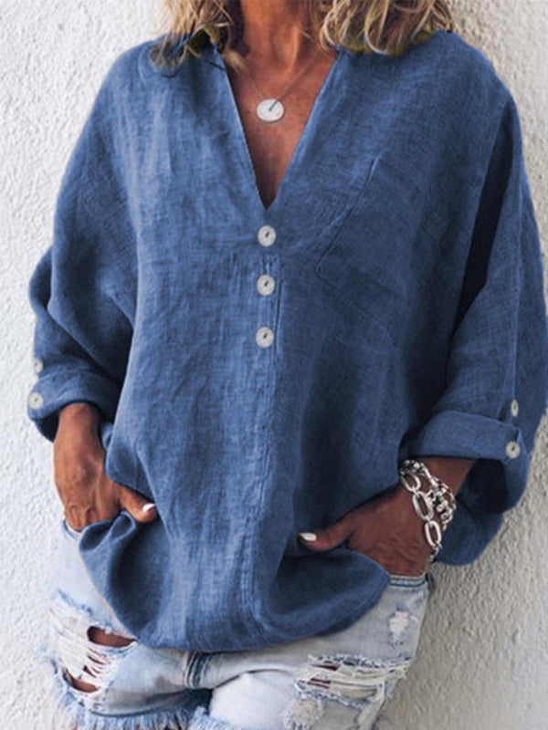 Summer Cotton-Blend V Neck Shirts & Tops