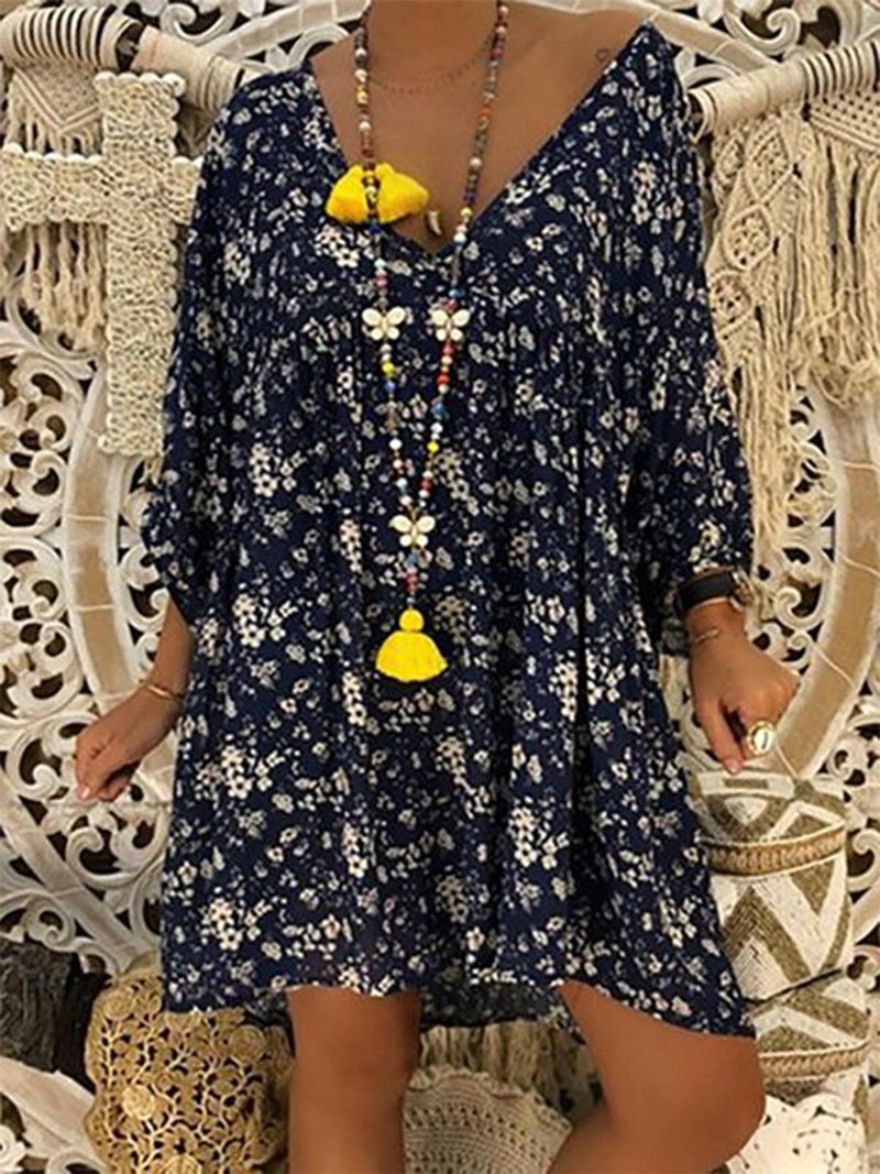 V neck Women Daily Long Sleeve Printed Floral Spring Dress