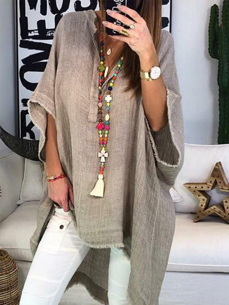 Summer Half Sleeve Plain Boho Casual High-Low Blouses