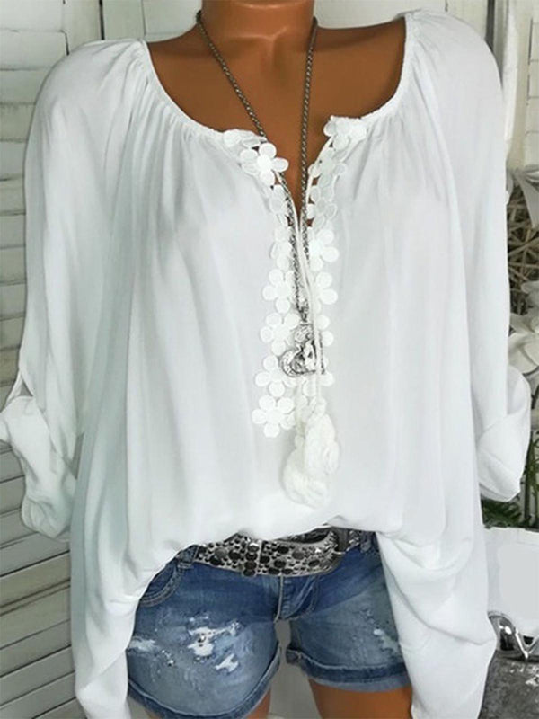 Summer Long Sleeve Casual Solid V neck Plus Size Blouse