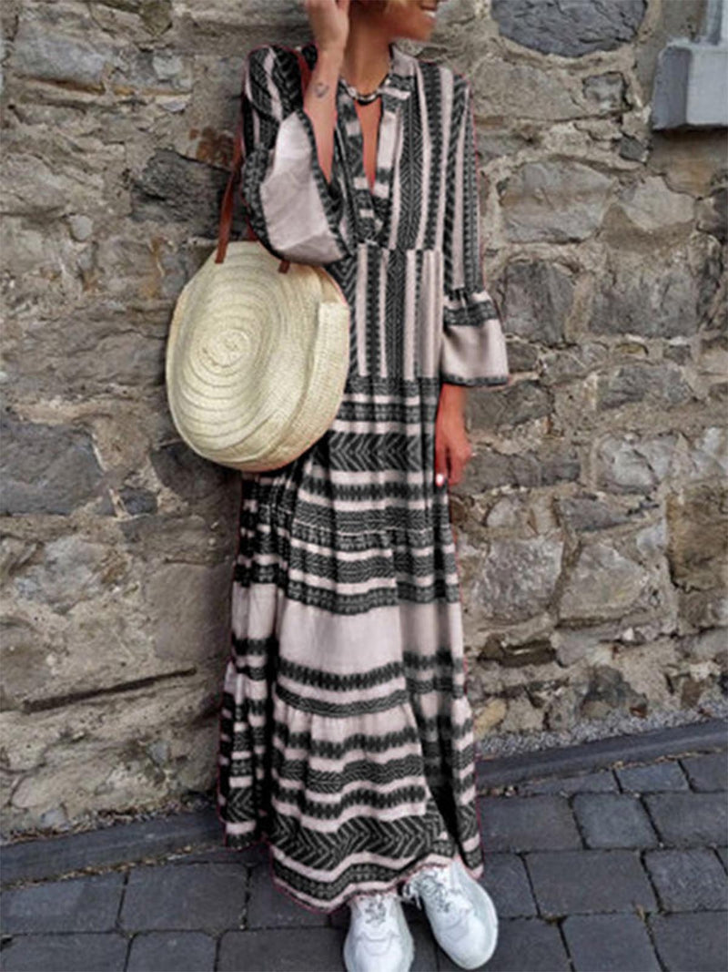 Summer V Neck Women  Dresses Beach Cotton Tribal Dresses