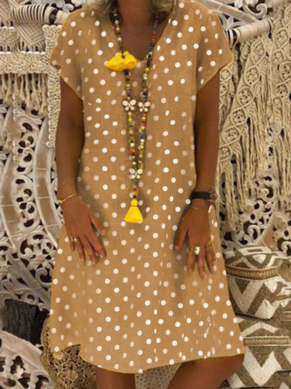 Women V Neck Dresses Shift Daily Casual Polka Dots Dresses