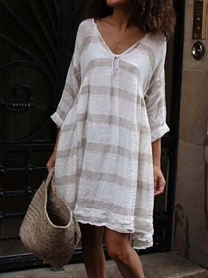 Women Half Sleeve V-neck Casual Midi Striped Dresses