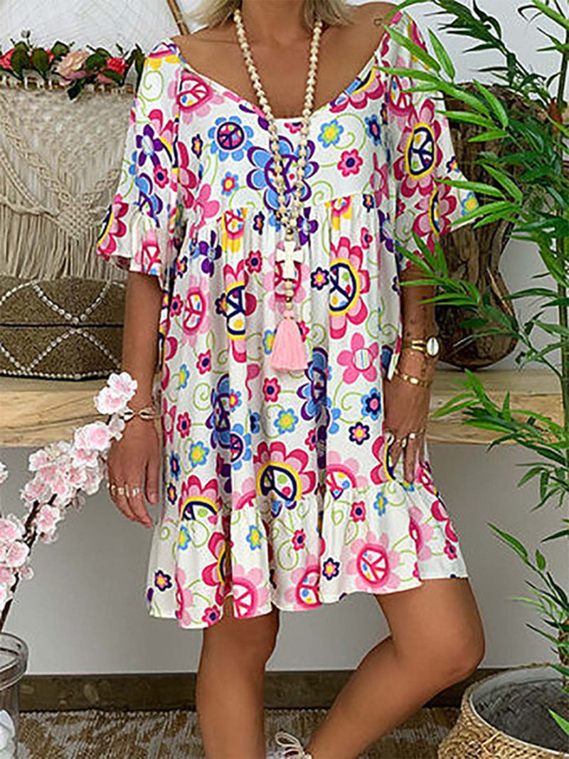 Floral Boho Women Half Sleeve V Neck Casual Shift Dresses