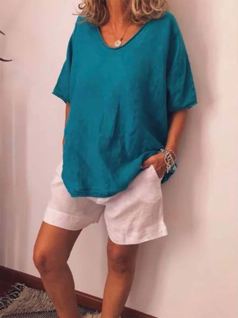 Plus Size Women V Neck  Summer Casual Solid Simple T-Shirts