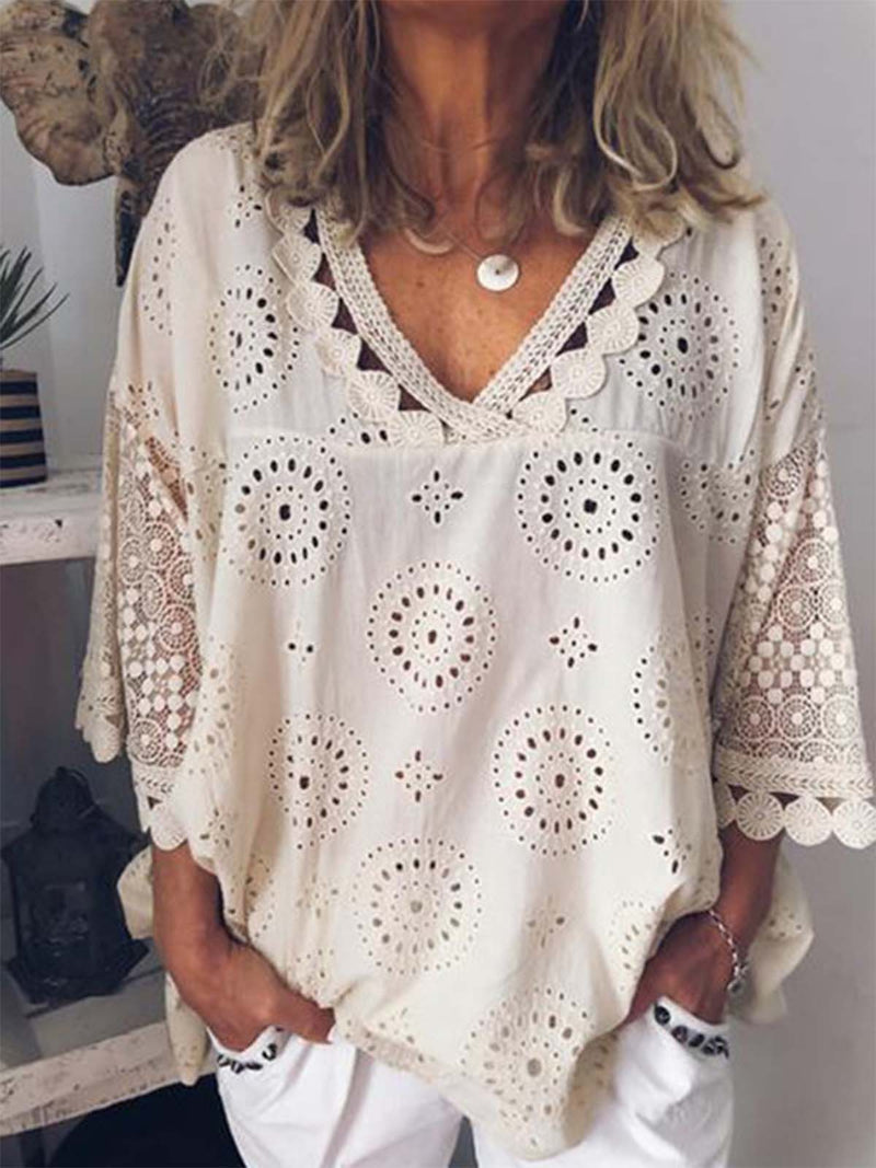 Women Cutout Blouse V neck 3/4 Sleeve T Shirt Tunic Top
