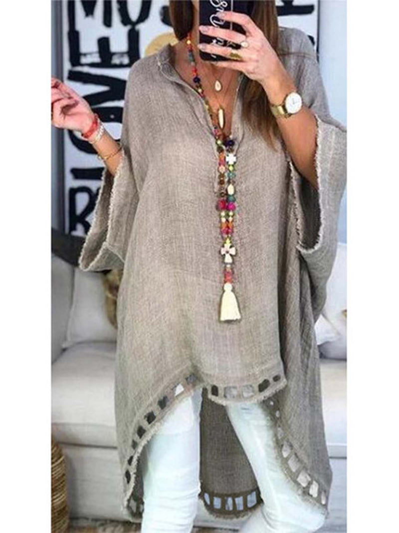 Daily Women V Neck Batwing Sweet Solid Cotton Blouses