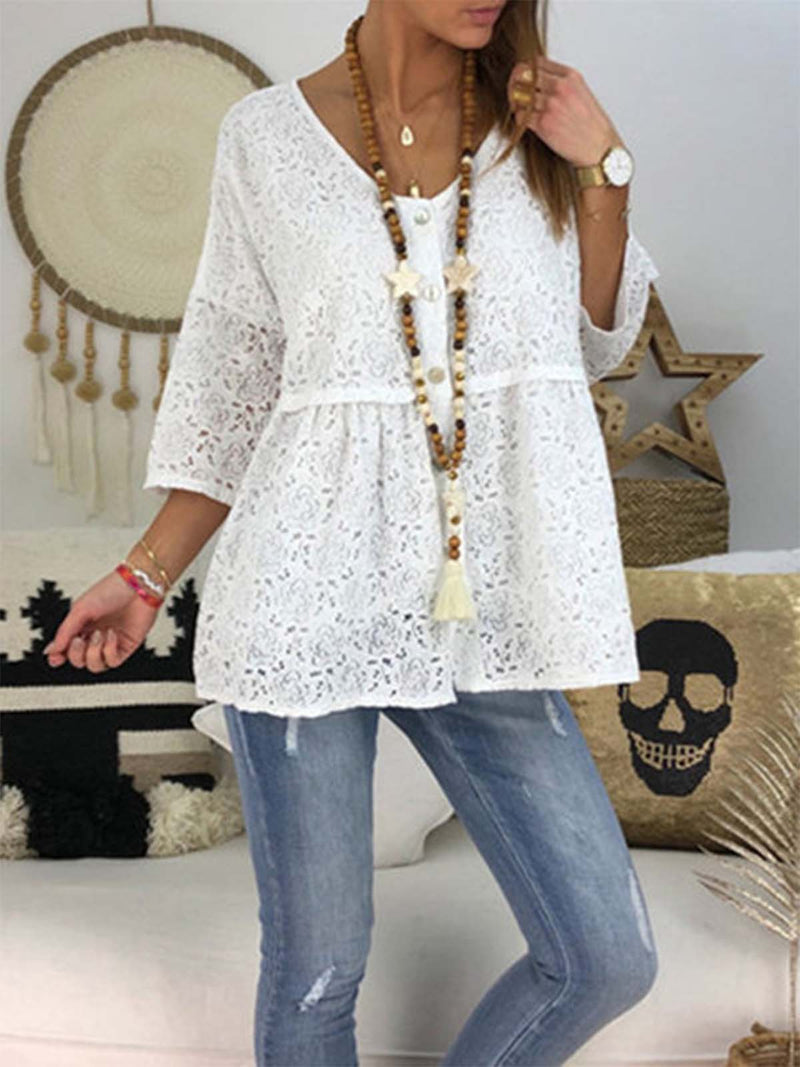 Plus Size Ladies V Neck 3/4 Sleeve Casual Buttoned Blouse